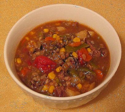 Savory Beef Vegetable Soup with Wild Rice