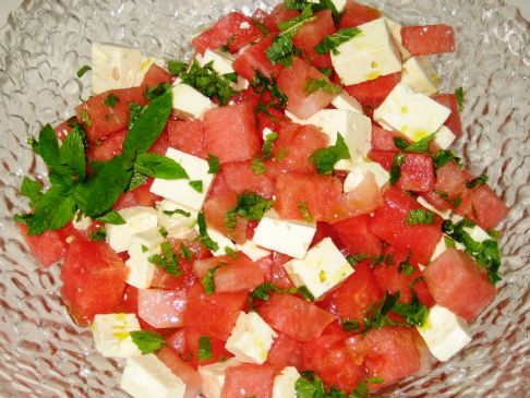 Water Melon Salad with Goats Cheese and Mint