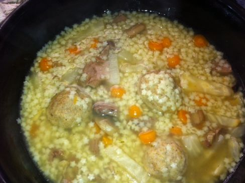 Beef soup with marrow dumplings