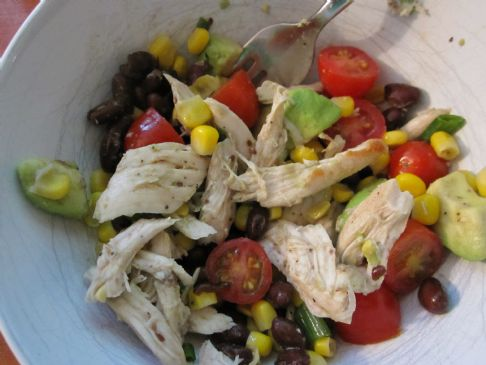 Chicken, black bean, avocado and corn salad