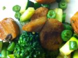 soy hot dogs with green veggies