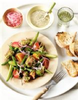 Feta & Pea Falafel Salad with Tahini Dressing