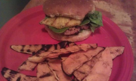 Jamaican Jerk Turkey Burger with a side of grilled yam