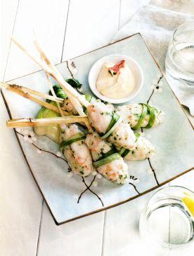 Lemongrasws Prawns with Miso Mayonnaise