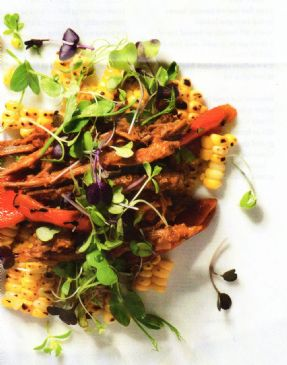 Pulled brisket with grilled corn & charred capsicum salad