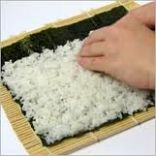 1. Spread the rice over the nori sheet.
