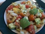 Tomato, Avocado, Corn and Shrimp Salad in Lemony Dill Dressing