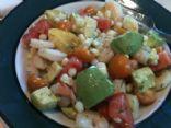 Tomato, Avocado, Corn and Shrimp Salad in Lemony Dill Dressing