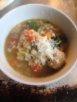 Home-made Chickarina /Italian Wedding Soup w Chicken Meatballs
