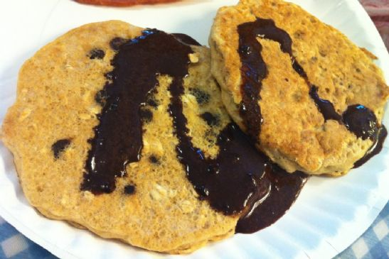 Oatmeal Carob Chip Pancakes with Carob Syrup