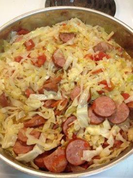 Spicy Sausage & Shrimp with Cabbage Saute