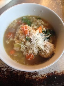 Home-made Chickarina /Italian Wedding Soup w Chicken Meatballs