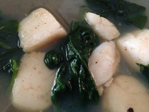 Sea Scallops with Wilted Spinach