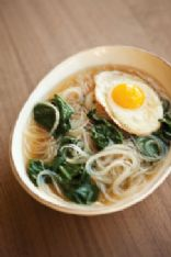 Spinach Noodle and Egg Soup