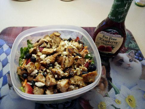 Paula's Home-made Berry Almond Chicken Salad with Raspberry Vinaigrette