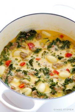 Zuppa Toscana (creamy gnocchi soup with kale and sausage)