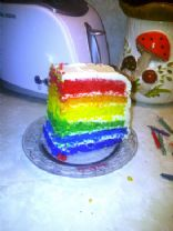 Rainbow Birthday Cake w/ Cream Cheese Frosting