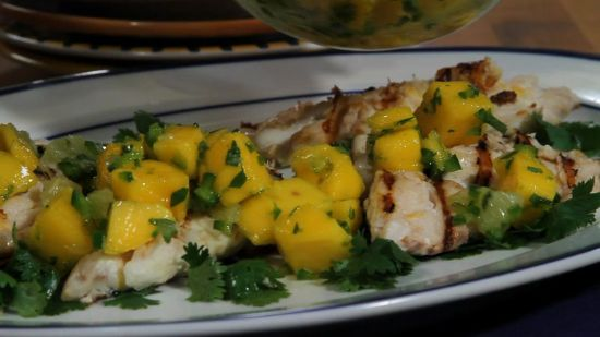 Grilled fish with mango salsa recipe sparkrecipes for Mango salsa recipe for fish