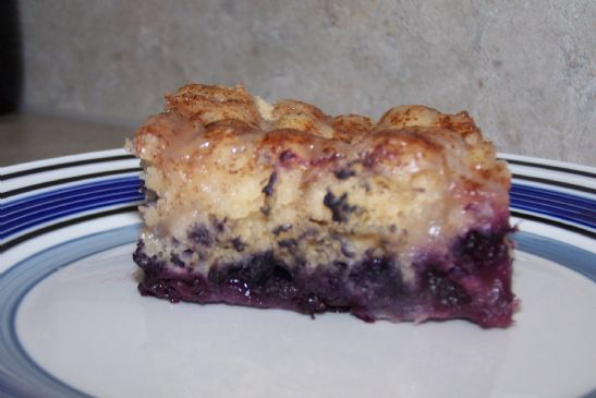 Blueberry cake with a lemon glaze