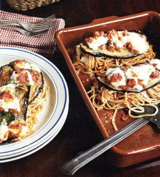 Baked Spaghetti with Eggplant & Bocconcini