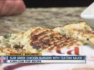 Slim Greek Chicken Burgers w/Tzatziki Sauce