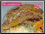 Grilled Chicken breast with crunchy oat crust.