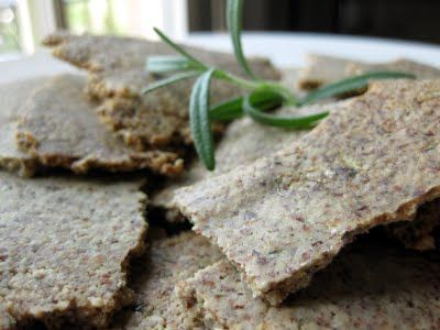 Gluten Free Flourless Garlic Pepper Rosemary Crackers