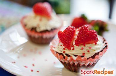 Chocolate Strawberry Shortcake Cupcakes