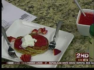 Low Fat Peanut Butter Pancakes w/Strawberry Puree