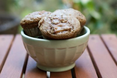 Whole Wheat Zucchini & Rhubarb Muffins