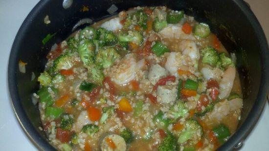 Shrimp and Veggie Sausage Jumbalaya