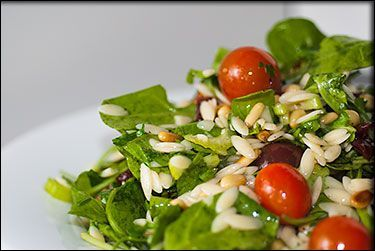 Vegan Lemon Arugula Orzo Salad
