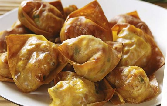 Wontons with ground turkey (oven baked & kid-approved!)