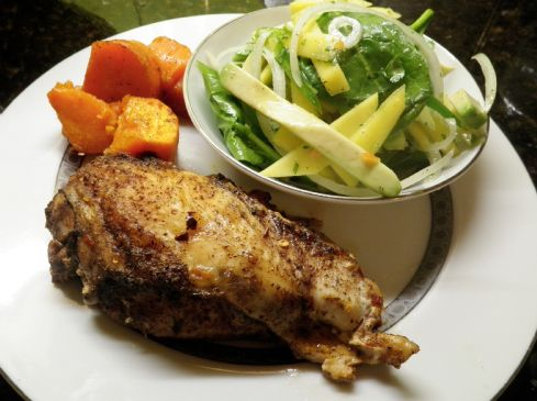 Caribbean Baked Chicken, Sweet Potato & Spicy Mango-Avocado Salad
