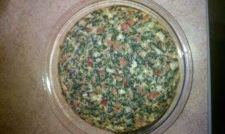 Crustless Ham,Spinach,Swiss and Onion Quiche
