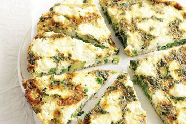 Frittata with zucchini, peas, mint and ricotta Recipe | SparkRecipes