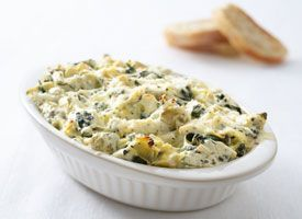 Low(er) Fat Spinach Dip with Artichokes