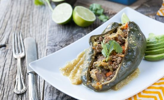 Enchilada Stuffed Peppers with Chile Verde Sauce