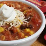 Cathy's Beef (Soy) Tortilla Soup w/tomatoes, chiles, corn and black beans