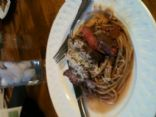 Giada de Laurentiis spaghetti with beef, smoked almonds, and basil - revamped