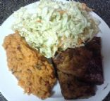 Agave-Lime Grilled Tofu with Asian Slaw and Mashed Sweet Potatoes-Vegan