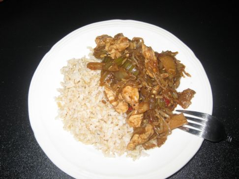 Black Pepper Chicken & Chop Suey Veggie w/brown rice