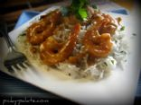 Sweet and Spicy Almond Glazed Shrimp Over Brown Rice
