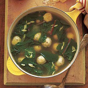Escarole Soup with Turkey Meatballs Recipe | SparkRecipes
