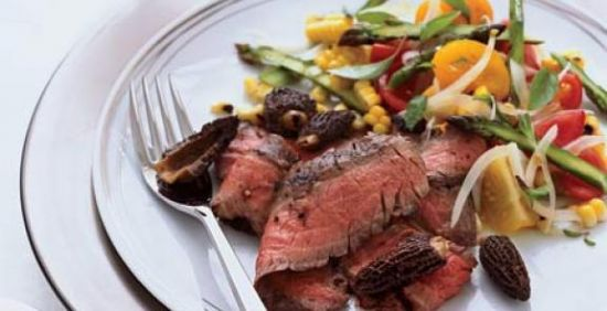 Grilled Steak with Black Beans, Corn and Tomatoes