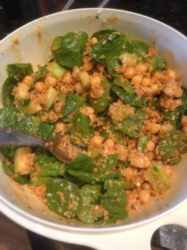 Quinoa, Garbanzo, and Spinach Salad with Smoked Paprika Dressing