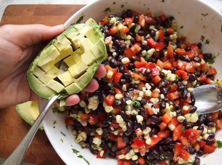 Black Bean Salad with Corn, Red Peppers, Avocado, and Lime-Cilantro Vinaigrette