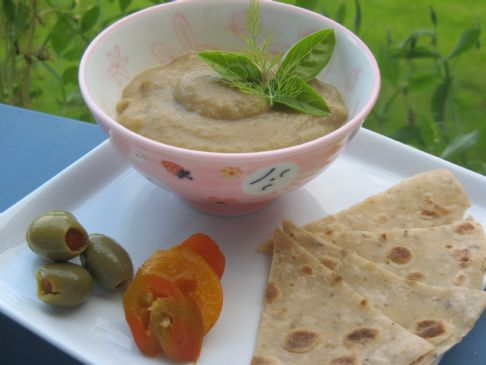 Eggplant Hummus with Flat Bread