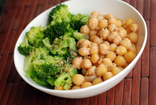 Chickpea and Broccoli Quinoa Bowl with a Peanut-Miso Sauce