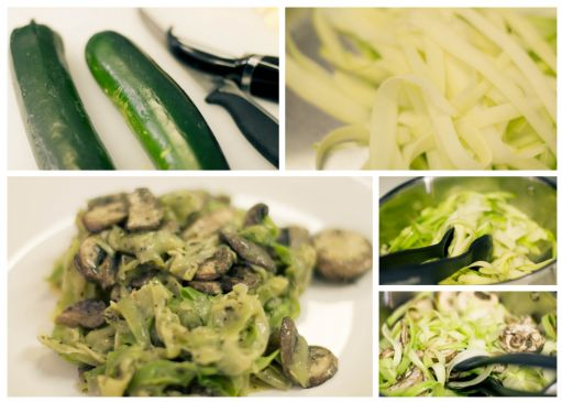 Paleo Pesto 'Pasta' with Mushrooms
